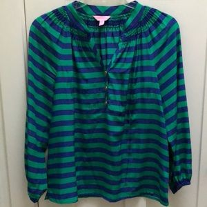 Lily Pulitzer Silk Striped Elsa Pullover Blouse